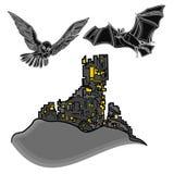 Halloween-Schloss mit Eulen- und Schlägervektor Lizenzfreies Stockfoto