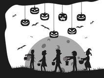 Halloween-Schlossschattenbildkostüm cids Schlägerbaum stock abbildung