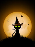 Halloween-schwarze Katze mit Hut der Hexe Stockbilder