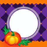 Halloween scrapbook backgound. With pumpkin and lace text area Stock Image