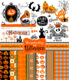 Halloween scrapbook collection Royalty Free Stock Photos