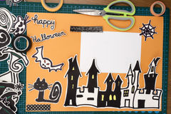 Halloween Scrapbook layout. A horizontal overhead view of a Halloween scapbook layout Royalty Free Stock Images