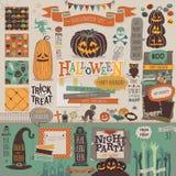 Halloween scrapbook set - decorative elements. Royalty Free Stock Photography