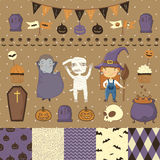 Halloween scrapbook set. Witch, dracula, mummy. Various elements for your festive design - patterns flozhki, stickers, etc. eps 10 Stock Images