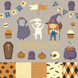 Halloween scrapbook set. Witch, dracula, mummy. Various elements for your festive design - patterns flozhki, stickers, etc. eps 10 Royalty Free Stock Photos