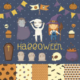 Halloween scrapbook set. Witch, dracula, mummy. Various elements for your festive design - patterns flozhki, stickers, etc. eps 10 royalty free illustration