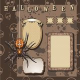 Halloween scrapbooking kit. Spider, frames, skull pattern Royalty Free Stock Images