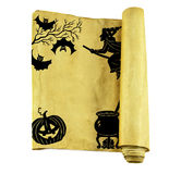 Halloween scroll. With black hand drawn silhouettes isolated on white royalty free stock photos