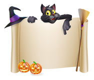 Halloween scroll with cat. A Halloween scroll sign with a black cat character above the banner and pumpkins, witch's cats, hat and broomstick Royalty Free Stock Image