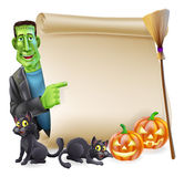 Halloween Scroll with Frankenstein Royalty Free Stock Image