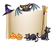 Halloween scroll sign and bat Royalty Free Stock Photo