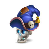 Halloween scull with cartoon hat  on white background. Stock Image