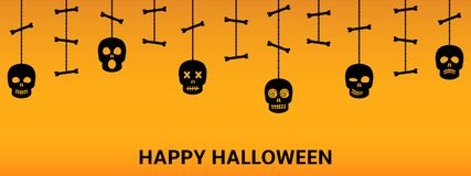 Halloween sculls hanging ornaments background. Vector illustration Stock Photography