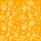 Halloween seamless background. With bats, ghost and pumpkin, vector illustration Stock Photography