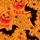 Halloween seamless background. With pumpkin, bat, and spiders Vector Illustration