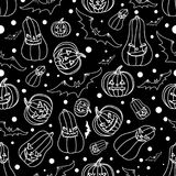 Halloween seamless background with bats,pumpkin, vector illustration Stock Image