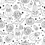 Halloween seamless background with bats,pumpkin, vector illustration Stock Images