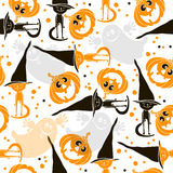 Halloween seamless background with ghosts, pumpkins  and cute ki Royalty Free Stock Photography