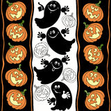 Halloween seamless background with ghosts and pumpkins. Royalty Free Stock Images