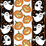 Halloween seamless background with ghosts and pumpkins. Royalty Free Stock Image