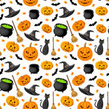 Halloween seamless background.. Halloween seamless background with jack-o-lanterns, witches hats, cats, bats, brooms and cauldrons on white Stock Photos