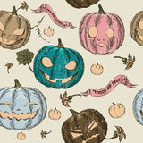 Halloween seamless background with pumpkin. Stock Photo