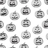 Halloween seamless background pumpkin with different facial expressions,  Royalty Free Stock Photo