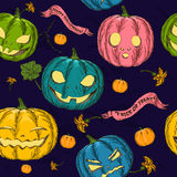 Halloween seamless background with pumpkin. Royalty Free Stock Photo