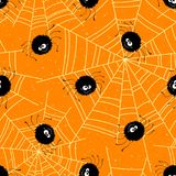 Halloween seamless background with spiders and web. Vector illustration Stock Image