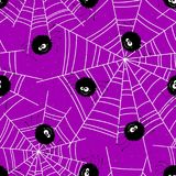 Halloween seamless background with spiders and web. Vector illustration Royalty Free Stock Photos