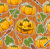 Halloween seamless background. Halloween seamless texture with pumpkin and besom Stock Photo