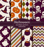 Halloween seamless background. Vector set. Royalty Free Stock Photography