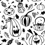 Halloween seamless balck and white pattern with different pumpkins. stock illustration