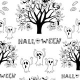 Halloween Seamless black and white. Royalty Free Stock Photo