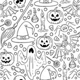 Halloween seamless Black and white pattern. Royalty Free Stock Photography