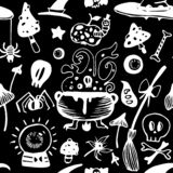 Dark engraved seamless Halloween vector pattern with witch elements vector illustration