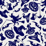Halloween seamless blue pattern Stock Image