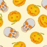Halloween seamless bright kids cartoon pattern. Skull and pumpkin. Stock Photography