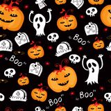 Halloween seamless comic pumpkin and phantom. Stock Images