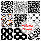 Halloween seamless decoration patterns set Royalty Free Stock Images