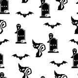 Halloween seamless modellbakgrund royaltyfri illustrationer