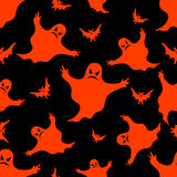 Halloween seamless pattern. Bat and ghost. Vector background Royalty Free Stock Photos