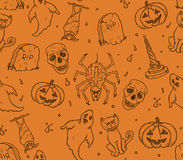 Halloween seamless pattern. With ghosts,pumpkins and bats Royalty Free Stock Photo