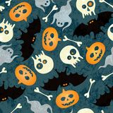 Halloween seamless pattern. With pumkins, bats and skulls. EPS 10 vector illustration. RGB royalty free illustration