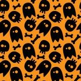 Halloween seamless pattern. Halloween seamless background ghosts, skulls and bones Royalty Free Stock Image