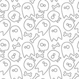 Halloween seamless pattern. Halloween seamless background ghosts, skulls and bones. black stroke drawing Royalty Free Stock Photos