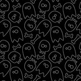Halloween seamless pattern. Halloween seamless background ghosts, skulls and bones. black and white Stock Photos