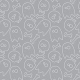 Halloween seamless pattern. Halloween seamless background ghosts, skulls and bones. white drawing on gray background Stock Image