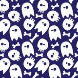 Halloween seamless pattern. Halloween seamless background ghosts, skulls and bones. white shapes on dark blue background Royalty Free Stock Photo