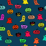 Halloween Seamless Pattern. Background with pumpkins and colorful ghosts stock illustration